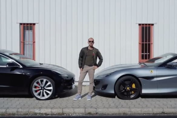Tesla Model 3 vs Ferrari Portofino [videó]