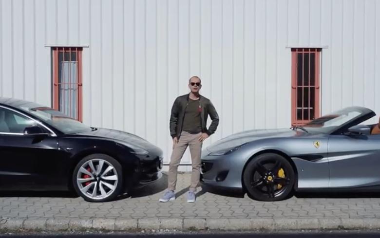 Tesla Model 3 vs Ferrari Portofino [videó]
