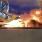 Így karambolozott a később felrobbanó Model 3